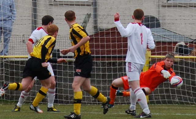 Ally Semple saves from Colin Spence