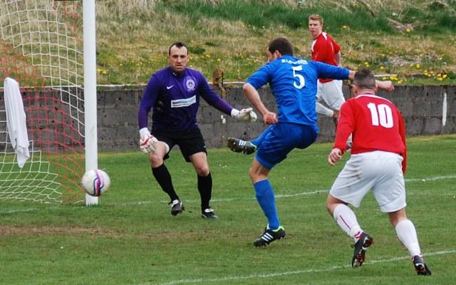 Close call on Cumnock goal