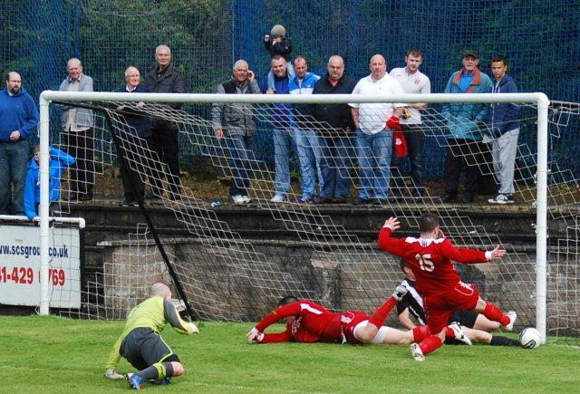 Gareth Campbell goes close