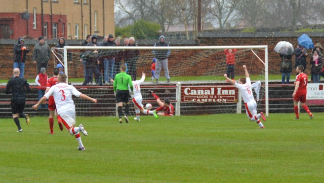 Arms aloft to celebrate Cameron Marlow's opener