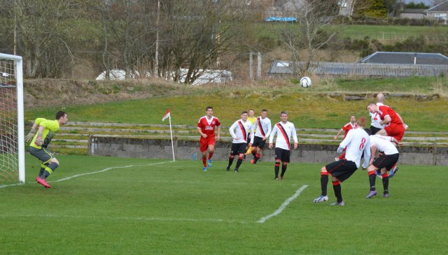 Darren McGill's heads for goal