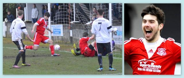 Michael scoring against Cumnock in the Scottish Junior Cup Quarter-final