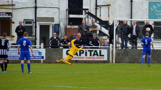 Ross McNeil's shot ends in the net