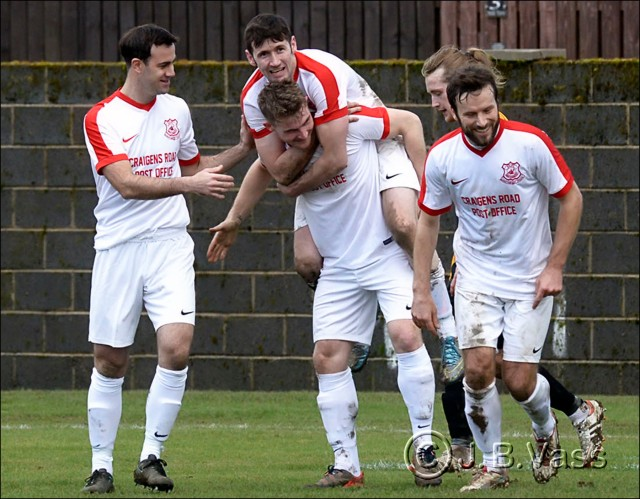 Glens celebrate the third goal scored by Darren McGill
